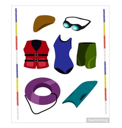 Set of Swimming Equipment on White Background vector image vector image