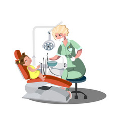 child girl in the dentist s chair with a toothache vector image vector image