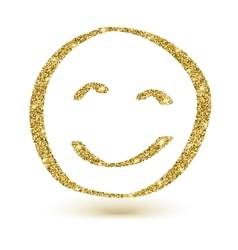 Face with golden glitter smile icon vector image vector image