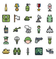 icons set for military infographics mobile game vector image vector image