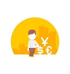 man uses different currencies dollar euro and yen vector image