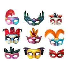 Masquerade Carnival Face Masks Realistic Set vector image vector image