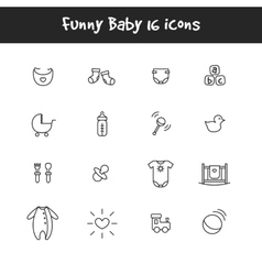 outline black and white 16 baby icons set vector image