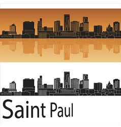Saint Paul skyline in orange background in vector image