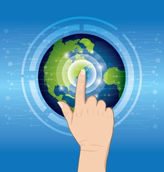 world technology with hand pushing vector image