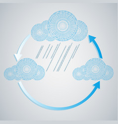 computer blue cloud with rain from numbers vector image vector image