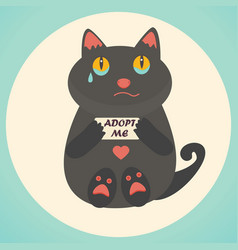 cute cat adopt me text homeless animals concept vector image vector image