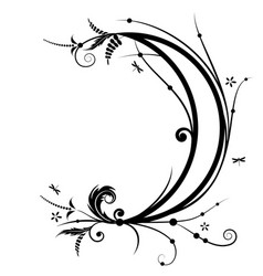 flower and new moon vector image vector image