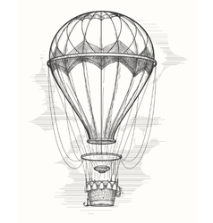 Retro hot air balloon sketch vector image