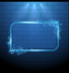shining blue neon light frame design element vector image vector image