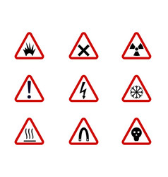 warning and hazard symbols on triangles vector image