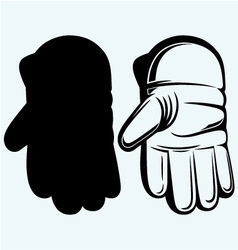 Cricket ball in a wicket keeping glove vector image vector image
