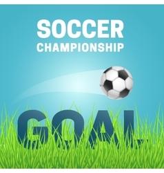 Football in green grass vector image