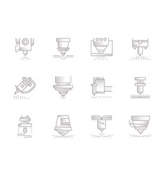 lasers vintage icons set vector image