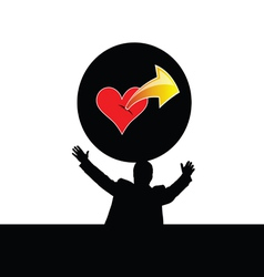 man with heart vector image