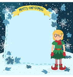 Notes Christmas Elf Glasses Girl vector image vector image
