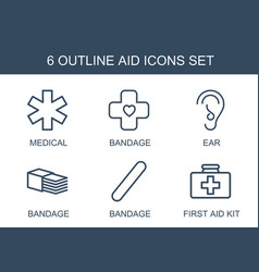 6 aid icons vector image