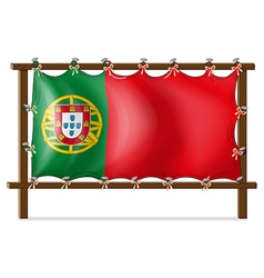 A wooden frame with the flag of Portugal vector image