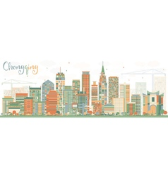 Abstract Chongqing Skyline with Color Buildings vector image