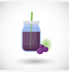 Acai berries smoothie flat icon vector