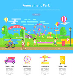 amusement park poster and text vector image