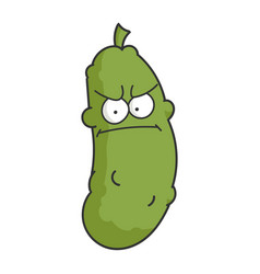 Angry dill pickle cartoon vector