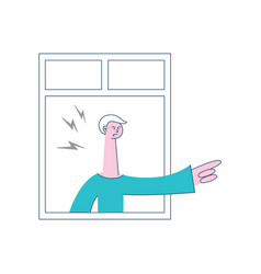 angry man threatening gesture of the window vector image