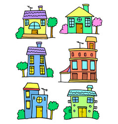 art of house set colorful vector image