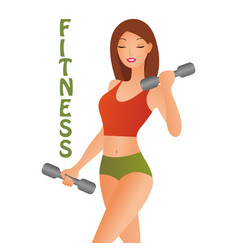 Athletic woman with dumbbells isolated on a white vector