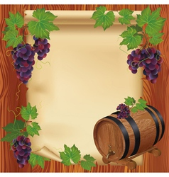 Background with grape barrel and paper on wood vector