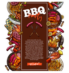 bbq and grill background barbecue party invitation vector image