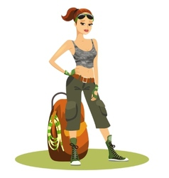 Beautiful young female backpacker vector image