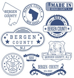 Bergen county New Jersey stamps and seals vector