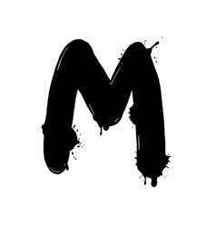 Blot letter m black and white vector