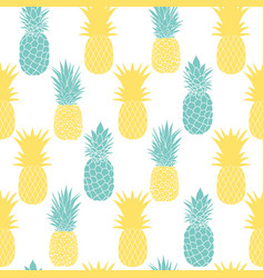 blue and yellow pineapples seamless repeat pattern vector image