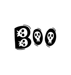 boo word text with funny doodle hand drawn skulls vector image