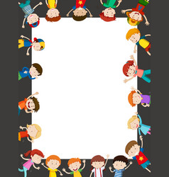 Border template with happy kids vector
