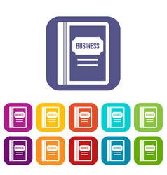 Business book icons set vector