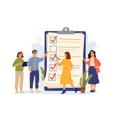 business people checklist manager achieves tasks vector image