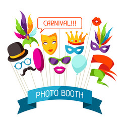 Carnival photo booth props accessories vector