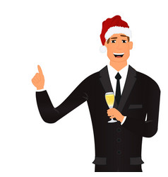 cartoon businessman in santa hat with champagne vector image