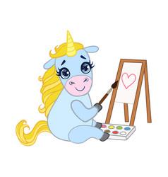cartoon light blue lovely unicorn painting on vector image