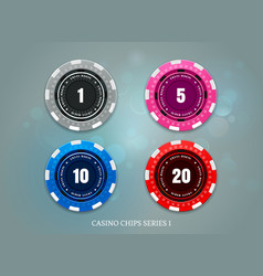 casino coins chips set on bokeh background vector image