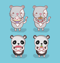 Cats and panda with food vector