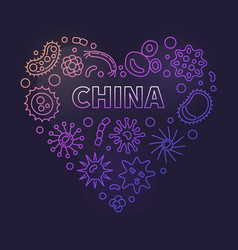 china and viruses heart concept linear vector image