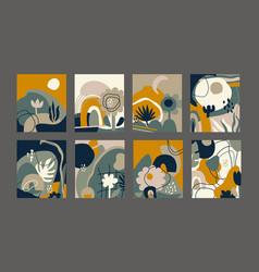 collection creative cards with abstract vector image