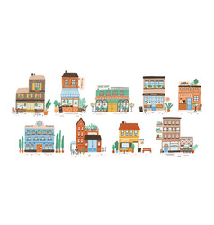 collection stores shops cafe restaurant vector image