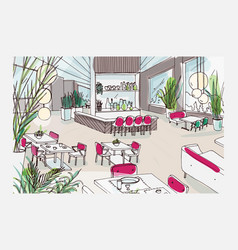 Colorful freehand drawing of restaurant or bistro vector