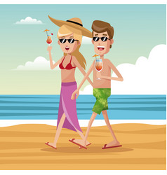 couple tourist beach cocktail vector image