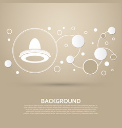 cowboy hat icon on a brown background with vector image